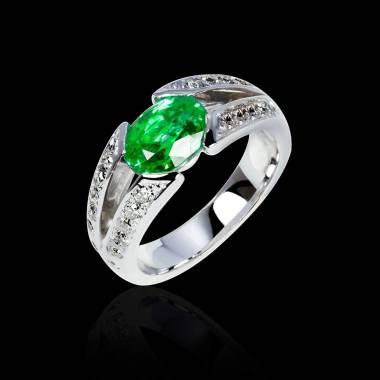 Bague de fiançailles émeraude pavage diamant or blanc Isabelle