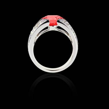 Solitaire rubis pavage diamant or blanc Isabelle