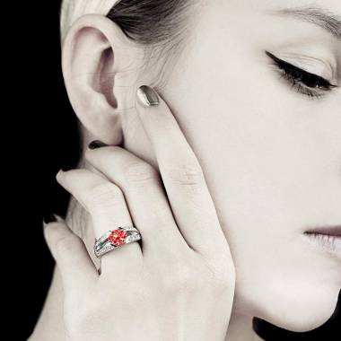 Bague rubis pavage diamant or blanc Isabelle