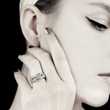 Bague de fiançailles diamant pavage diamant or blanc Isabelle