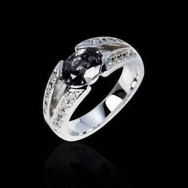 Bague de fiançailles diamant noir pavage diamant or blanc Isabelle