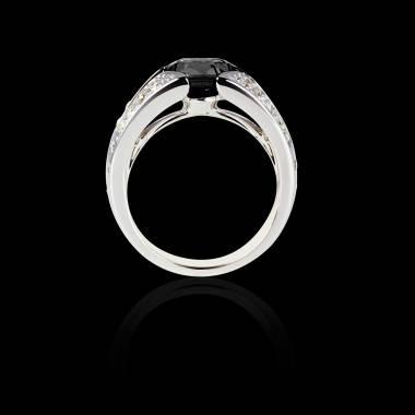 Solitaire diamant noir pavage diamant or blanc Isabelle