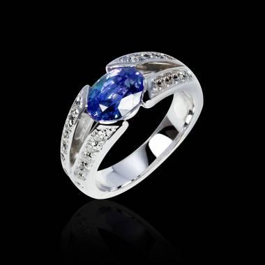 Bague de fiançailles saphir bleu pavage diamant or blanc Isabelle