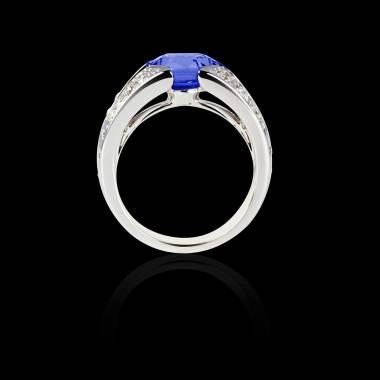 Solitaire saphir bleu pavage diamant or blanc Isabelle