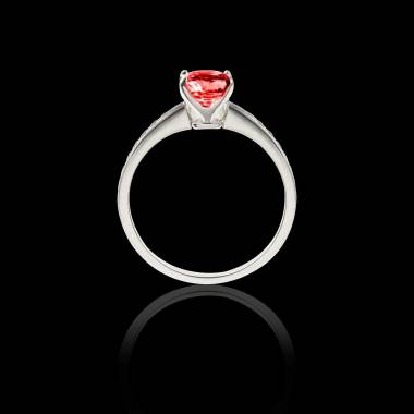 Solitaire rubis pavage diamant or blanc Sandy