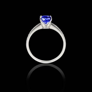 Solitaire saphir bleu pavage diamant or blanc Sandy