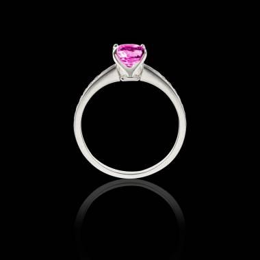 Solitaire saphir rose pavage diamant or blanc Sandy