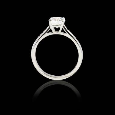 Solitaire diamant pavage diamant or blanc Angela