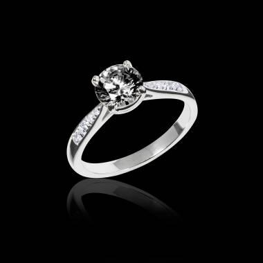 Bague de fiançailles diamant noir pavage diamant or blanc Angela