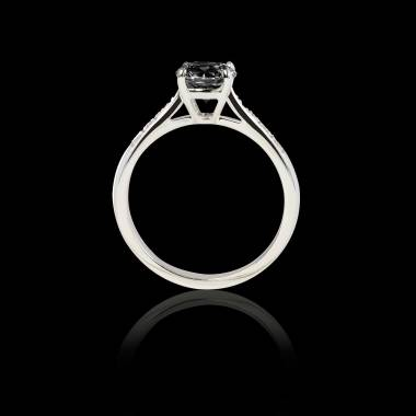 Solitaire diamant noir pavage diamant or blanc Angela