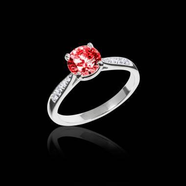Bague de fiançailles rubis pavage diamant or blanc Angela