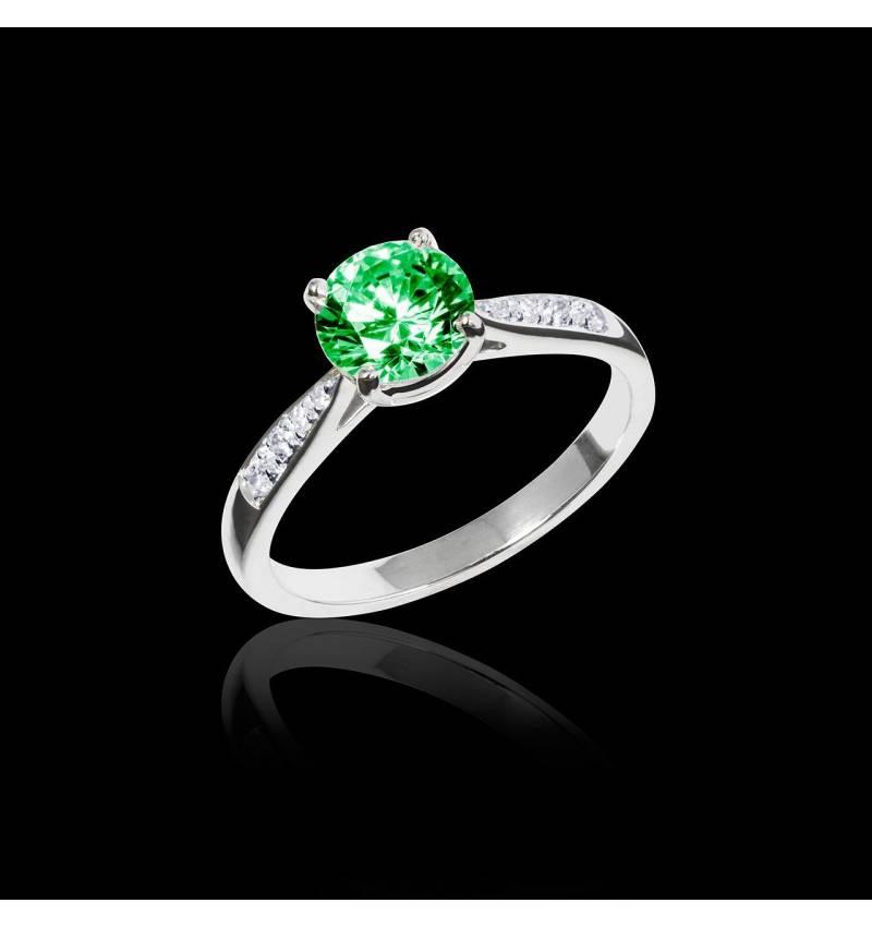 Bague de fiançailles émeraude pavage diamant or blanc Angela