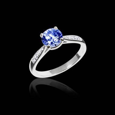 Bague de fiançailles saphir bleu pavage diamant or blanc Angela