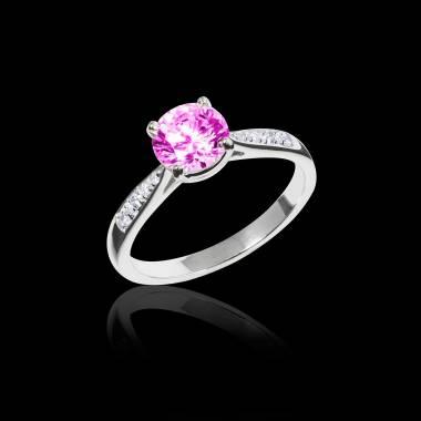 Bague de fiançailles saphir rose pavage diamant or blanc Angela