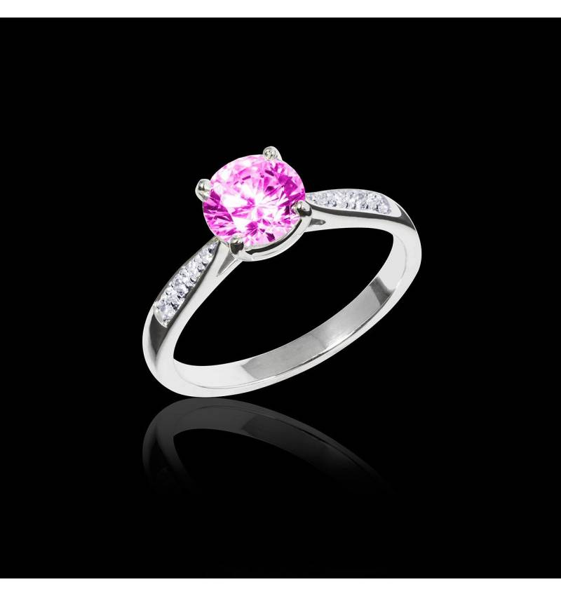 Bague de fiançailles saphir rose pavage diamant or blanc Angela