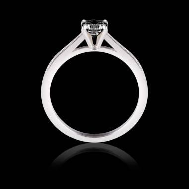 Solitaire diamant noir pavage diamant or blanc Elodie