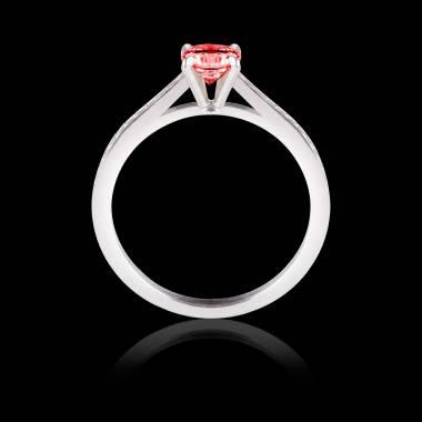 Solitaire rubis pavage diamant or blanc Elodie