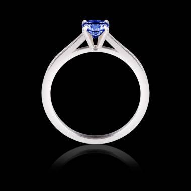 Bague de fiançailles saphir bleu pavage diamant or blanc Elodie