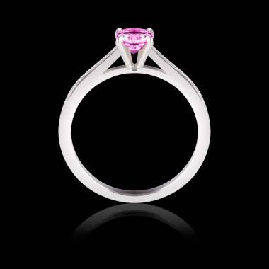 Solitaire Saphir Rose pavage diamant or blanc Elodie