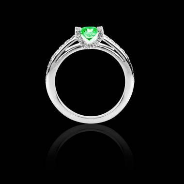 Solitaire émeraude pavage diamant or blanc Hera