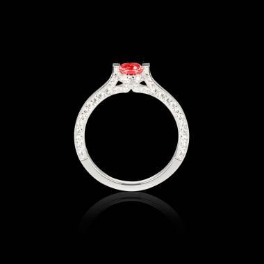 Solitaire rubis pavage diamant or blanc Hera