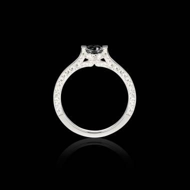Solitaire diamant noir pavage diamant or blanc Hera