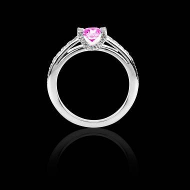Solitaire saphir rose pavage diamant or blanc Hera