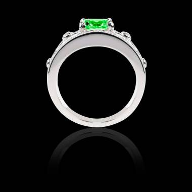 Bague Solitaire émeraude forme émeraude pavage diamant or blanc Régina Suprema