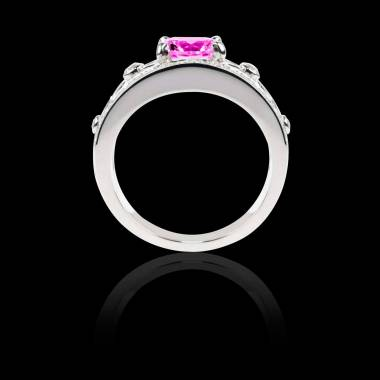 Bague Solitaire saphir rose forme émeraude pavage diamant or blanc Régina Suprema