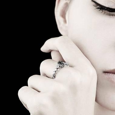 Bague de fiançailles diamant noir pavage diamant or blanc Elsa