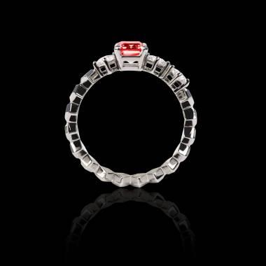 Solitaire rubis pavage diamant or blanc Elsa