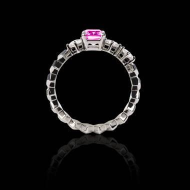 Solitaire saphir rose pavage diamant or blanc Elsa