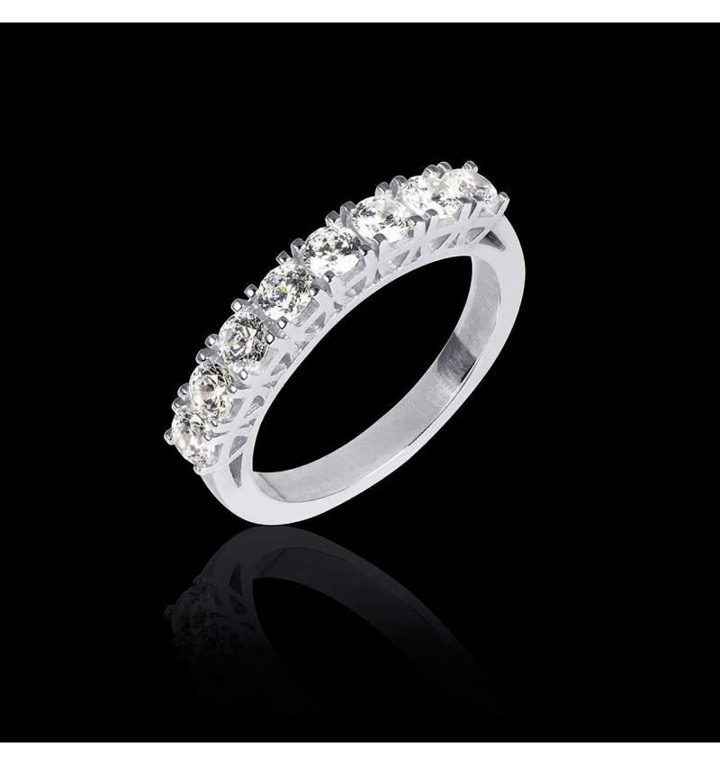 Alliance de mariage pavage diamant 0,5 carat or blanc Ceres