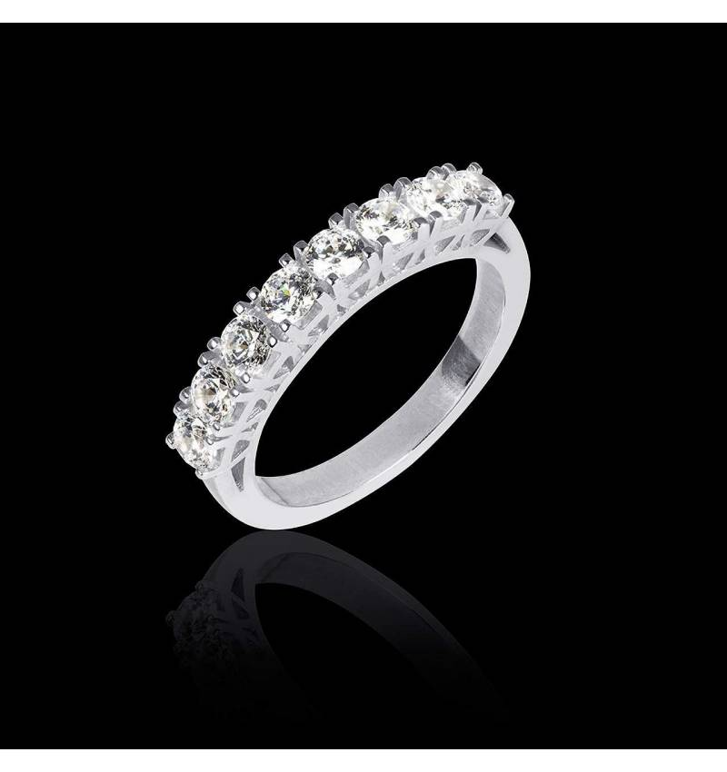 Alliance de mariage pavage diamant 0,5 carat or blanc Xena