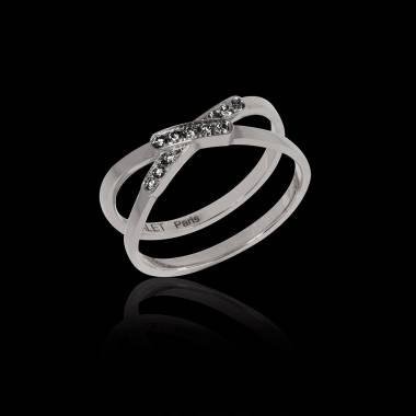 Bague de fiançailles diamant noir 0,6 carat or blanc Tifène