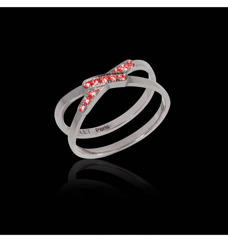 Bague de fiançailles rubis 0,8 carat or blanc Tifène