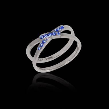 Bague de fiançailles saphir bleu 0,9 carat or blanc Tifène