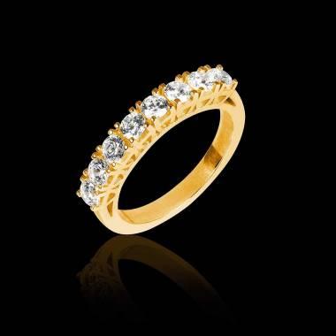 Alliance de mariage pavage diamant 0,6 carat or jaune Ceres