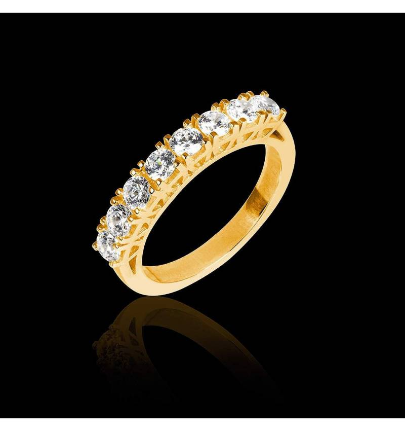 Alliance de mariage pavage diamant 0,6 carat or jaune Ceres