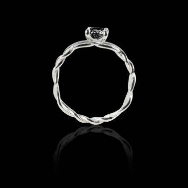 Solitaire diamant noir or blanc Entrelassée