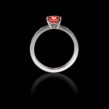 Solitaire rubis pavage diamant or blanc Judith