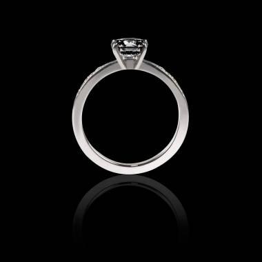 Solitaire diamant noir pavage diamant or blanc Judith