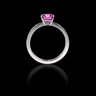 Solitaire saphir rose pavage diamant or blanc Judith