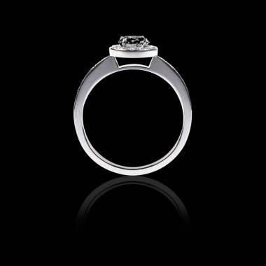 Bague Solitaire diamant noir pavage diamant or blanc Rekha