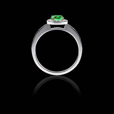 Bague Solitaire émeraude pavage diamant or blanc Rekha