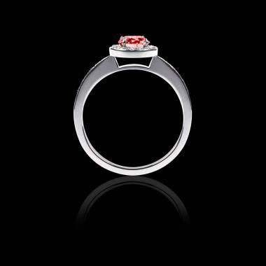 Bague Solitaire rubis pavage diamant or blanc Rekha