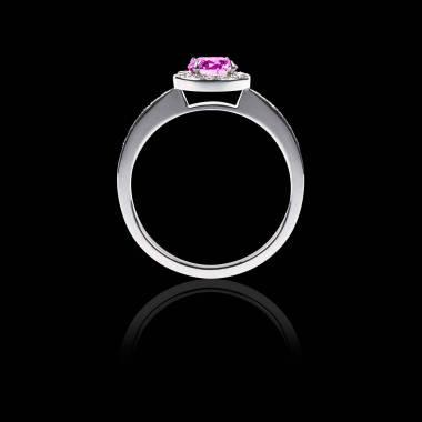 Bague Solitaire saphir rose pavage diamant or blanc Rekha