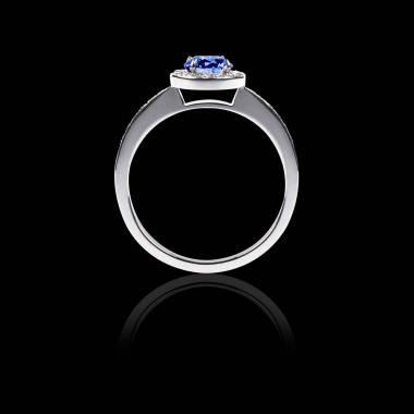 Bague Solitaire saphir bleu pavage diamant or blanc Rekha
