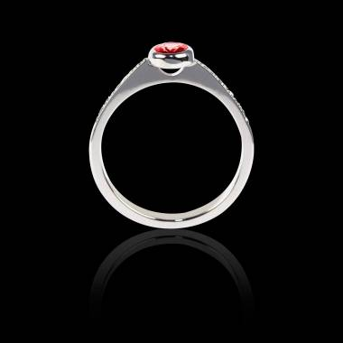 Bague Solitaire rubis forme ovale pavage diamant or blanc Moon