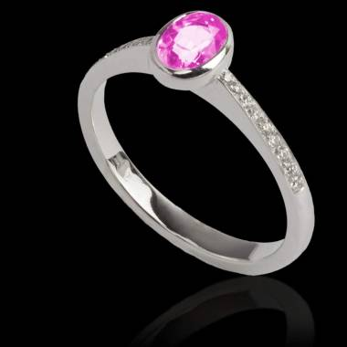Bague de fiançailles saphir rose forme ovale pavage diamant or blanc Moon